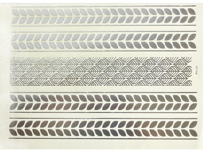 Metalické tetování Lístky stříbrné CT150