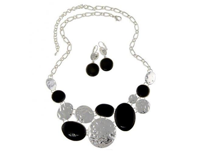Náhrdelník s náušnicemi POINTY stříbrno černý 01
