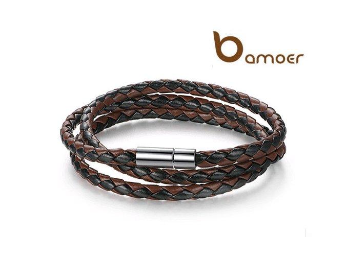Kožený proplétaný náramek BAMOER černohnědý