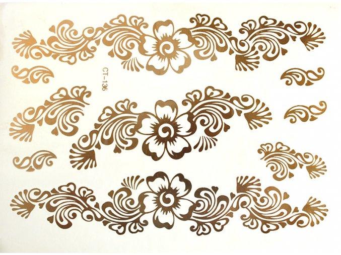 Metalické tetování Zlaté květy CT136