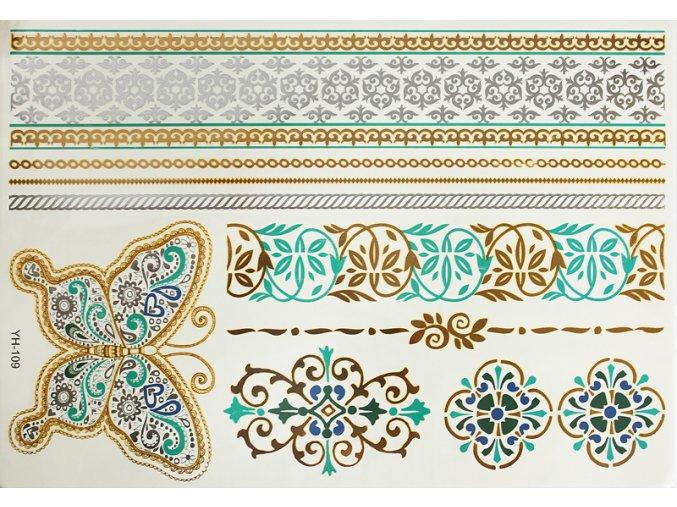 Metalické tetování zeleno zlaté Ornamenty a motýl YH109