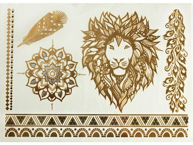 Metalické tetování Lví hlava Gold41