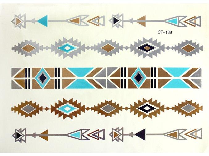 Metalické tetování modro zlatý Aztécký vzor CT188