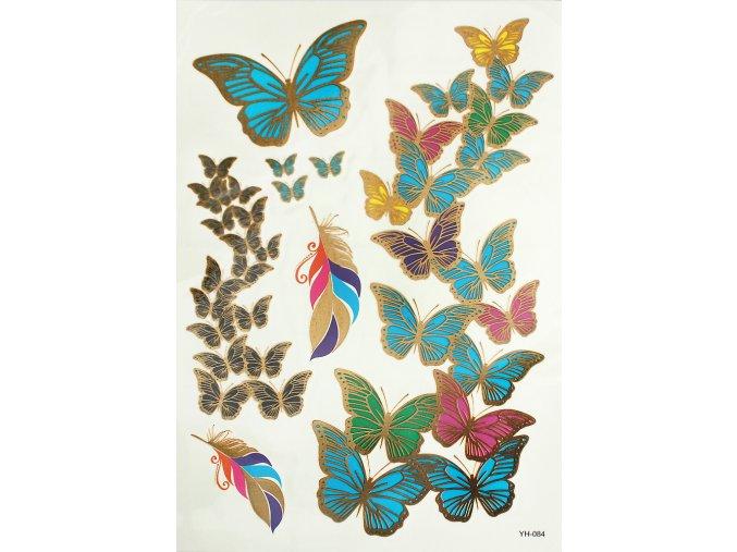 Metalické tetování barevní Motýli YH084