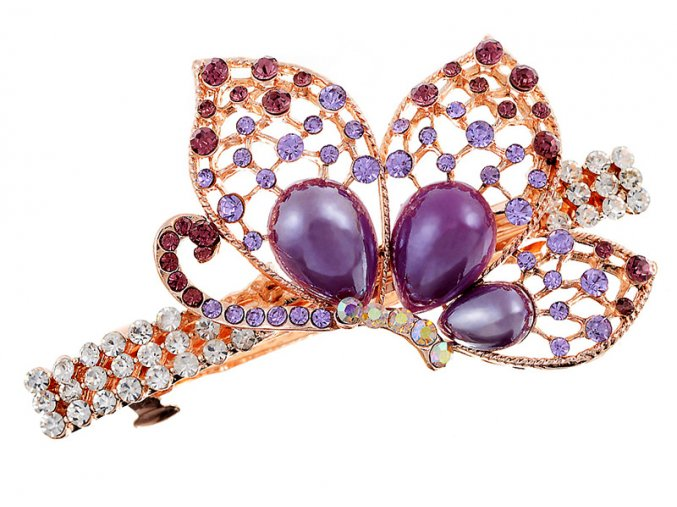 Ozdobná spona do vlasů s krystaly motýl fialový 01