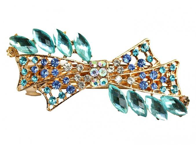 Spona do vlasů s krystaly BLUE 01