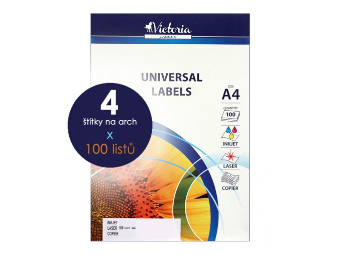 etikety A4 štítky do tiskárny Victoria x 4