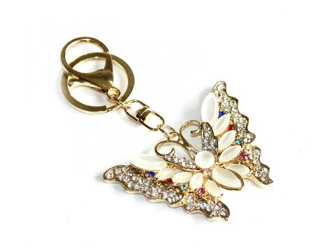 Přívěsek na kabelky a klíče opálový motýl 02