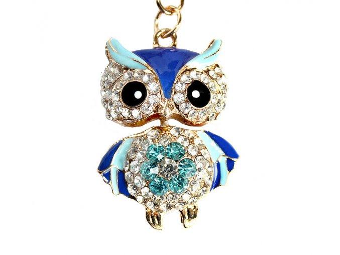Přívěšek na klíče sova modrá 00