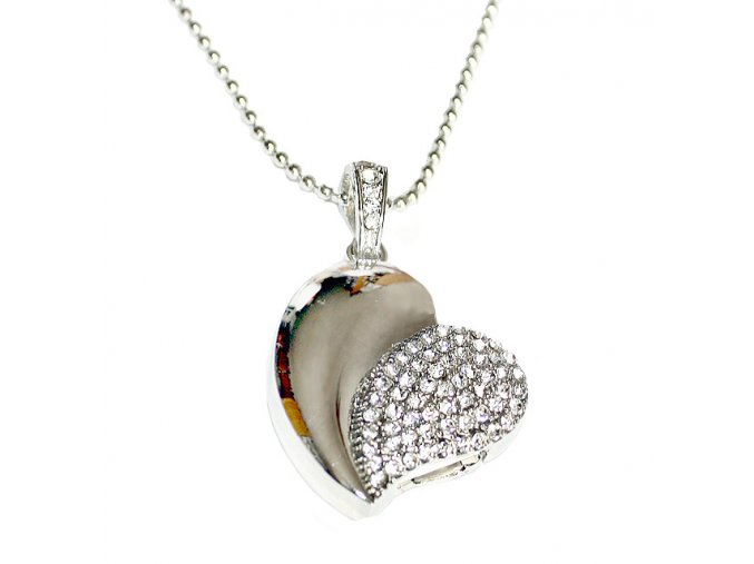Usb flash dusk stříbrné Srdce list s krystaly 01