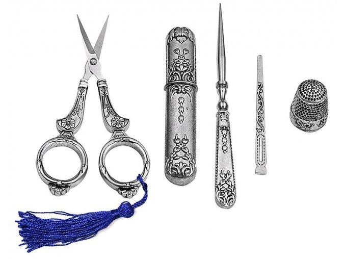 Vintage souprava na šití nůžky jehly