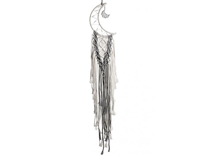 Macramé dekorace Stříbrný měsíc 01