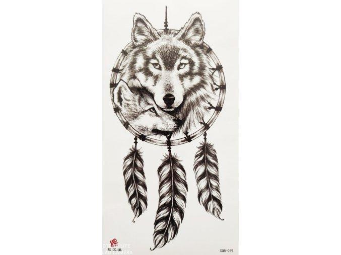 Nalepovací tetování Lapač snů a vlci