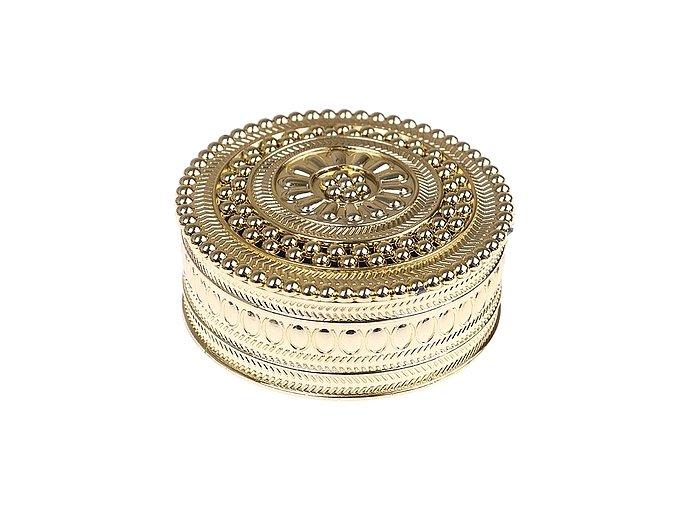 Dekorativní krabička kulatá 001 zlatá