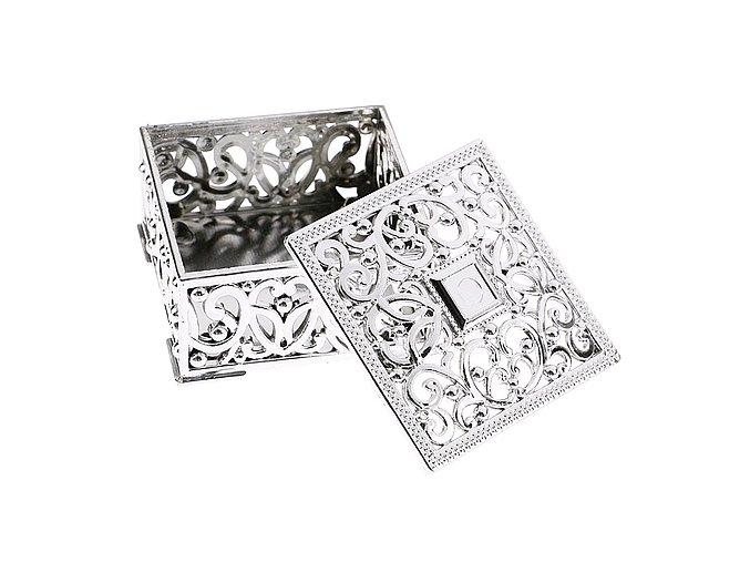 Ozdobná krabička čtvercová 002 stříbrná