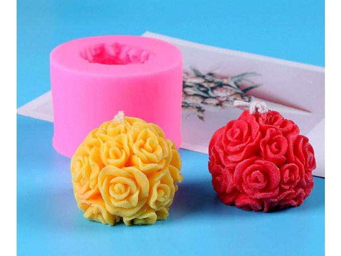 Silikonová forma na svíčku Koule růže