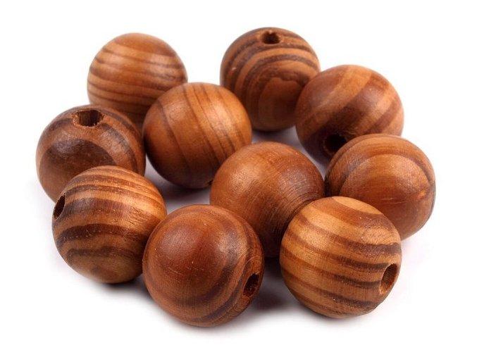 Dřevěné korálky nelakované borovice 20mm