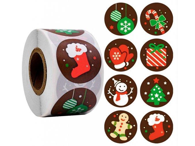 Samolepky Vánoční motivy Vánoce hnědé