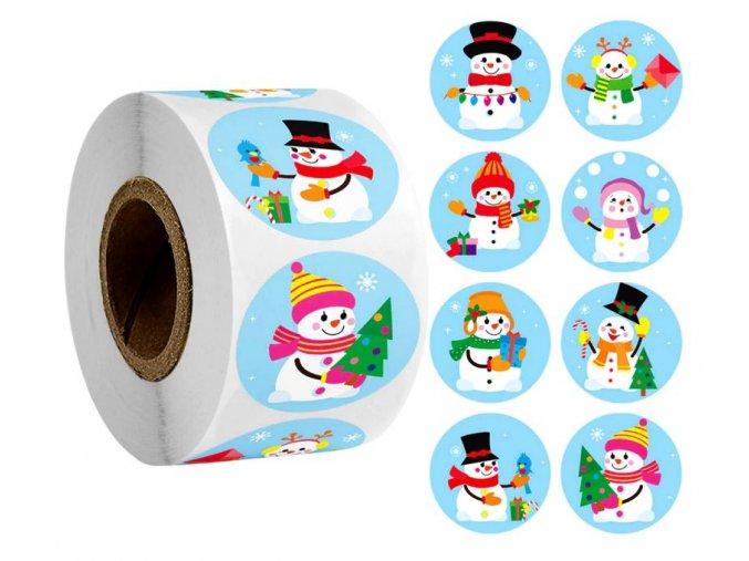 Samolepky Vánoční motivy Sněhuláci modré