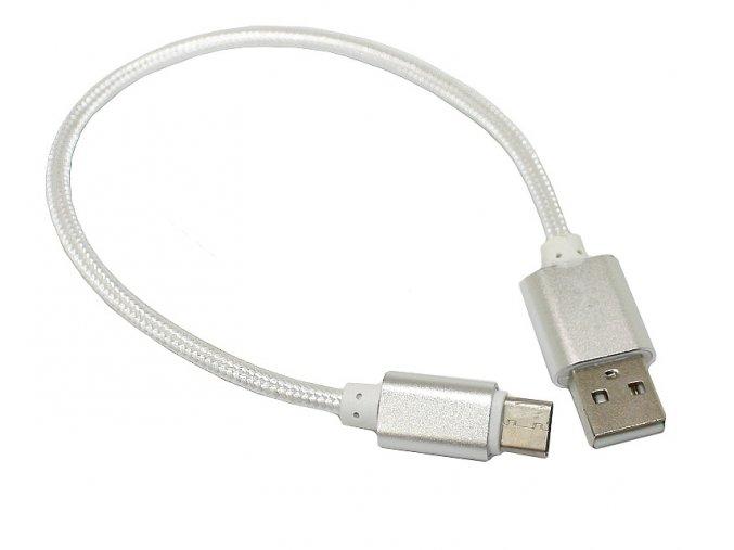 Datový a nabíjecí USB kabel nylonopvý stříbrný 01