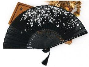 Lněný vějíř s květy BLACK 01