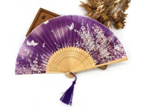 Dámský látkový vějíř Švestkové květy fialový