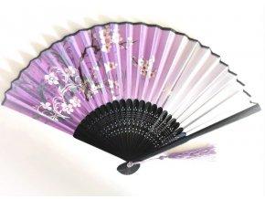 Luxusní bambusový vějíř Květy fialový 01