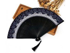 Luxusní látkový vějíř s krajkovým vzorem černý 01