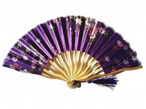 Vlnkový vějíř s květy fialový 01