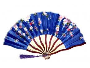Látkový vějíř s květy modrý 01