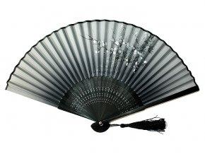 Luxusní bambusový vějíř černý šedý motiv 01