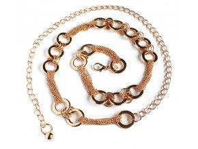 Řetízkový pásek na šaty a tuniku s kroužky zlatý 01
