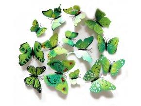 3D plastoví motýlci Burgundy / ZELENÁ