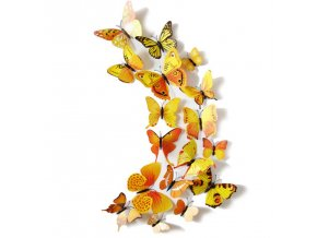 Dekorace na zeď 3D motýlci oranžová