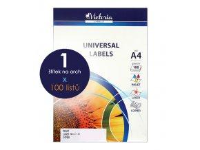 etikety A4 štítky do tiskárny Victoria x 1