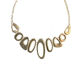 Bižuterie náhrdelník zlaté barvy s ovály 01