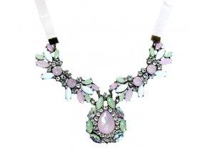 Statement náhrdelník s krystaly růžová slza 01