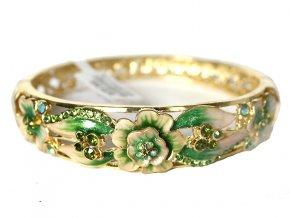 Kovtia luxusní náramek s květy a krystaly zelený