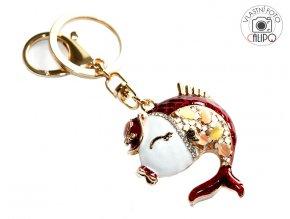 Přívěšek na klíče červená rybka 02