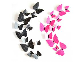 Dekorace na zeď motýli růžovo černé