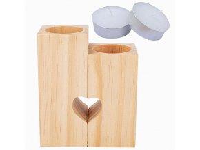 Dřevěné svícny na čajové svíčky Srdce 1