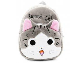 Plyšový dětský batůžek Kočka šedá 01