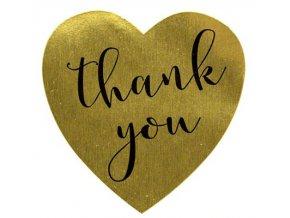Samolepky Zlaté srdíčka Thank you 1