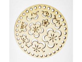 Dřevěná vyřezávaná podložka 15 cm Květy 01