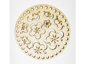 Dřevěná vyřezávaná podložka 15 cm Květy 01b