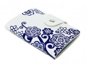 Pouzdro na karty a vizitky Modré květy 02