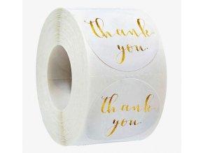Samolepky Thank You bílá zlatá 1