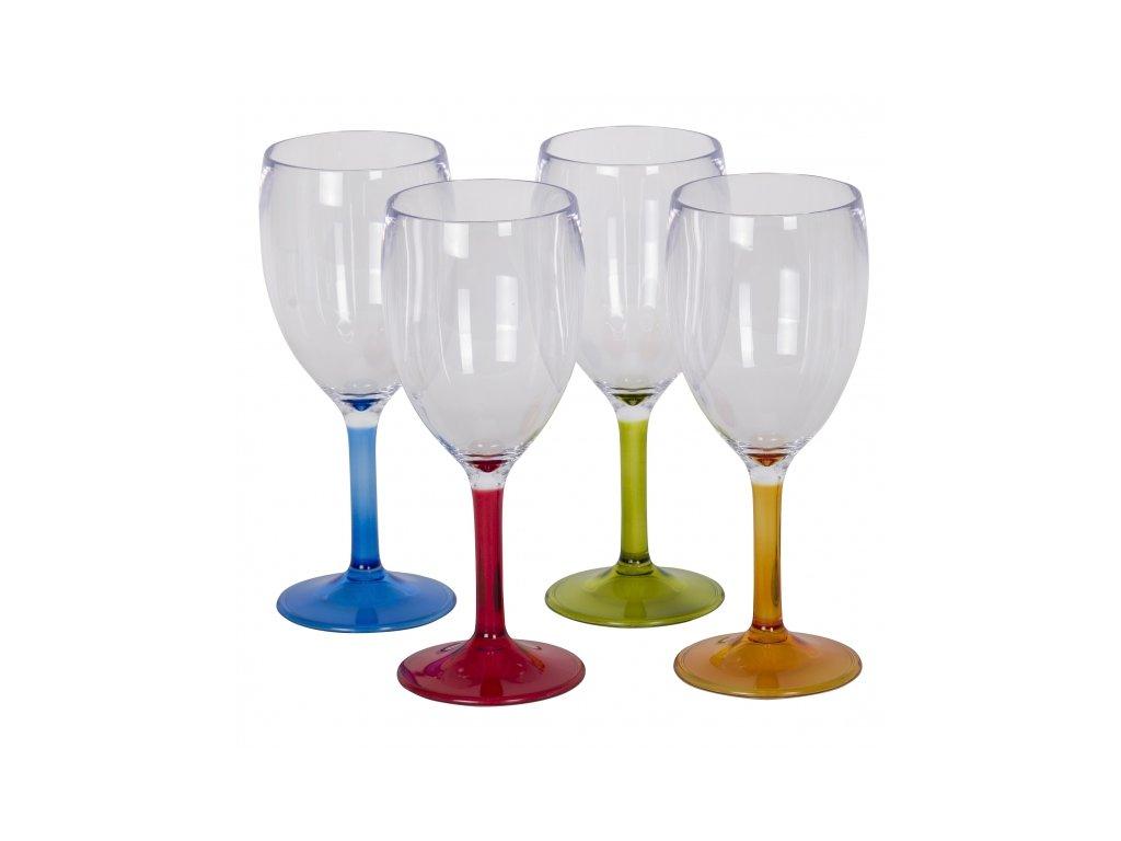 4-dílná sada barevných skleniček na víno