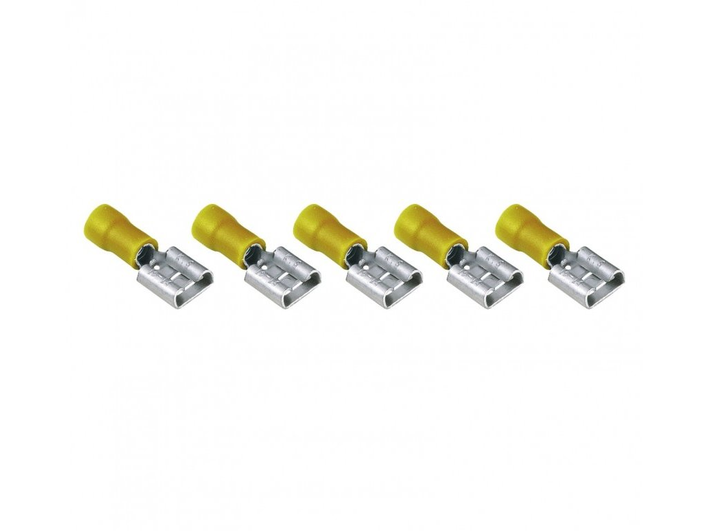 InnTec Flachsteckhülsen Gelb 6,3 mm (5er Set)