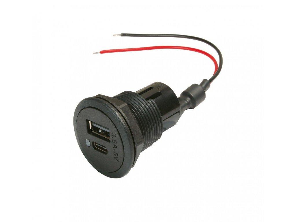 Power USB-C/A dvojitá vestavná zásuvka EV 12-24V